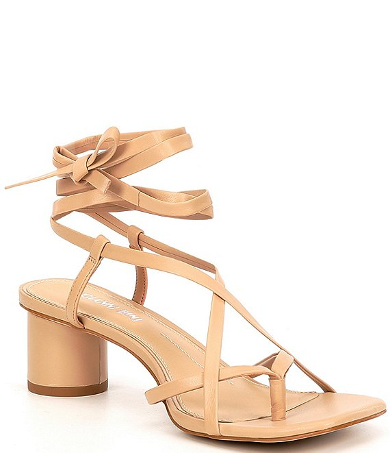 Color:Spanish Sand - Image 1 - Wrenny Leather Strappy Thong Block Heel Sandals