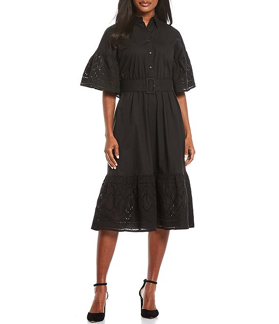 Color:Black - Image 1 - Embroidery Poplin Belted Dress
