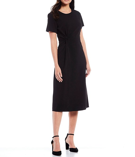 Color:Black - Image 1 - Knot Front Short Sleeve Round Neck Knit Crepe Dress