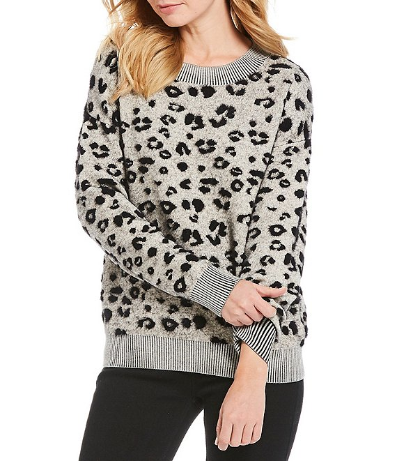 Gibson & Latimer Leopard Print Jacquard Sweater