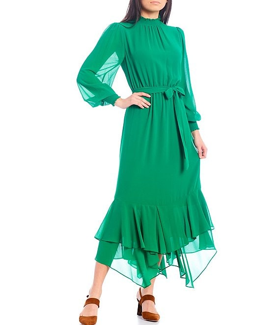 Color:Emerald - Image 1 - Smocked Neck Midi Dress with Flare Hem