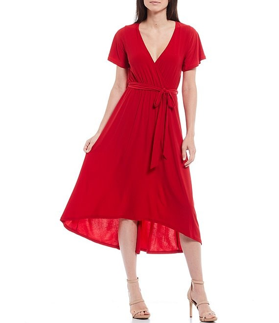 Color:Red - Image 1 - V-Neck Flutter Sleeve Tie Waist Hi-Low Faux Wrap Midi Dress