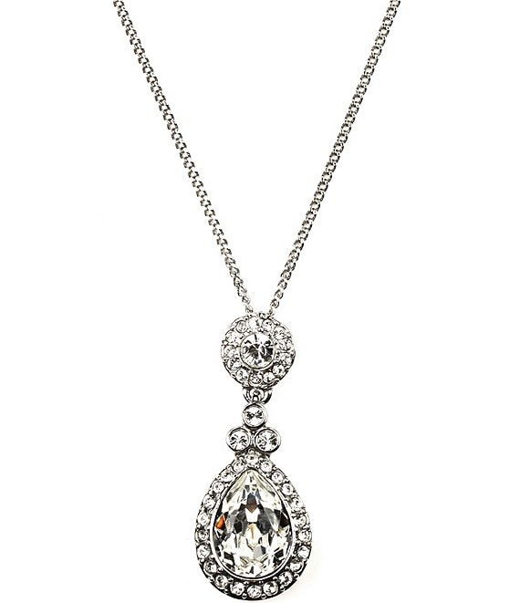 Color:Clear - Image 1 - Wingate Crystal Pendant Necklace