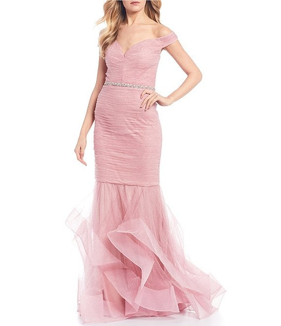 Color:Rose - Image 1 - Off-the-Shoulder Beaded Waist Horsehair Skirt Trumpet Dress