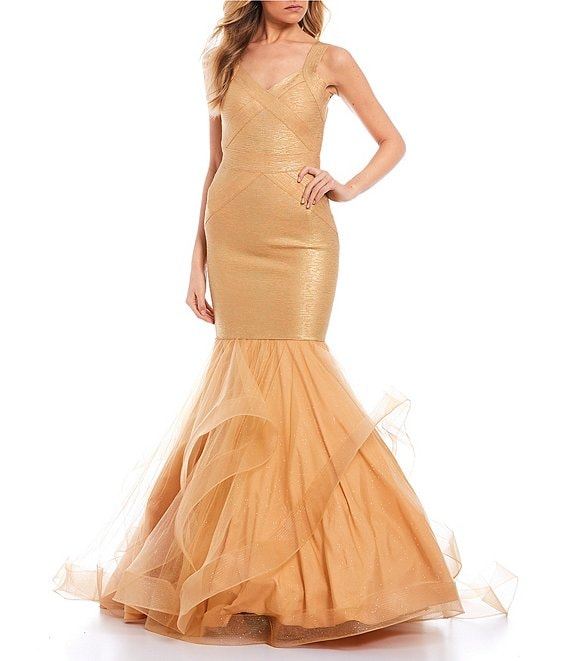 Color:Champagne Gold - Image 1 - Sleeveless V-Neck Bandage Glittered Skirt Trumpet Dress
