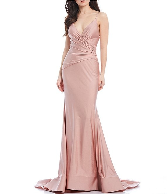 Color:Rose - Image 1 - Spaghetti Strap V-Neck Stretch Satin Long Dress