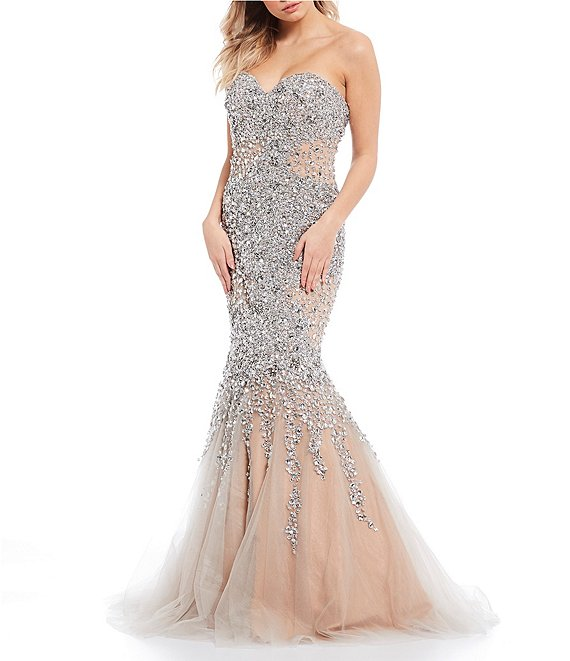 Color:Silver Nude - Image 1 - Sweetheart Strapless Beaded Mesh Trumpet Dress