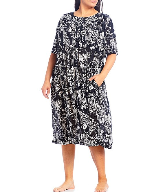 Color:Black - Image 1 - Plus Jungle Animal-Print Henley Crinkled Woven Patio Dress