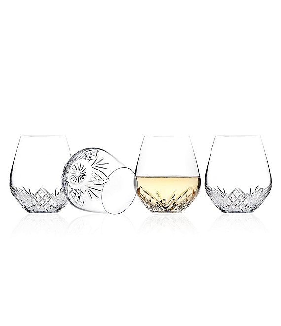 Godinger Dublin Diamond-Cut Crystal Stemless Wine Glasses Set of 4