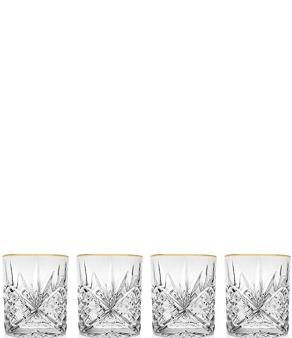 Color:Gold - Image 1 - Dublin 4-Piece Gold-Rimmed Handcrafted Crystal Double Old Fashioned Glass Set
