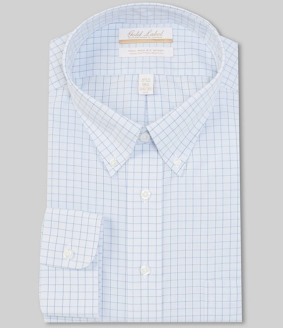 Gold Label Roundtree & Yorke Big & Tall Non-Iron Button-Down Collar Blue Windowpane Dress Shirt
