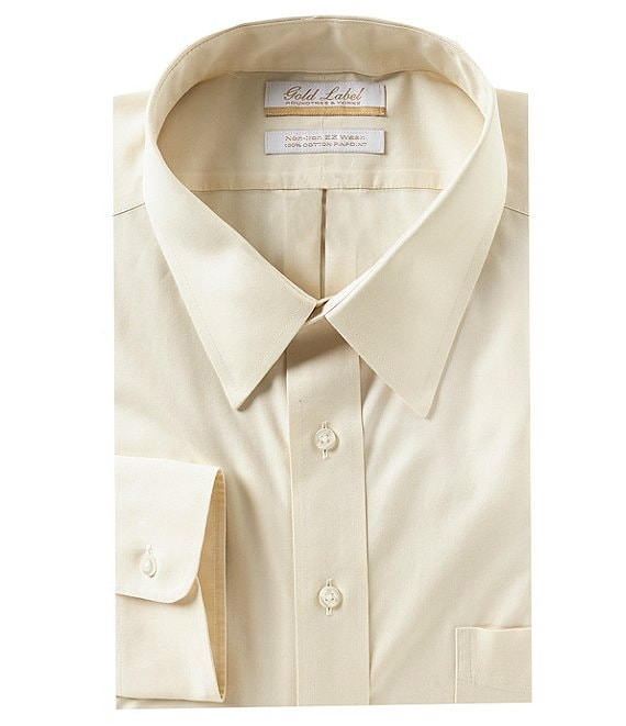 Gold Label Roundtree & Yorke Big & Tall Non-Iron Point Collar Solid Dress Shirt