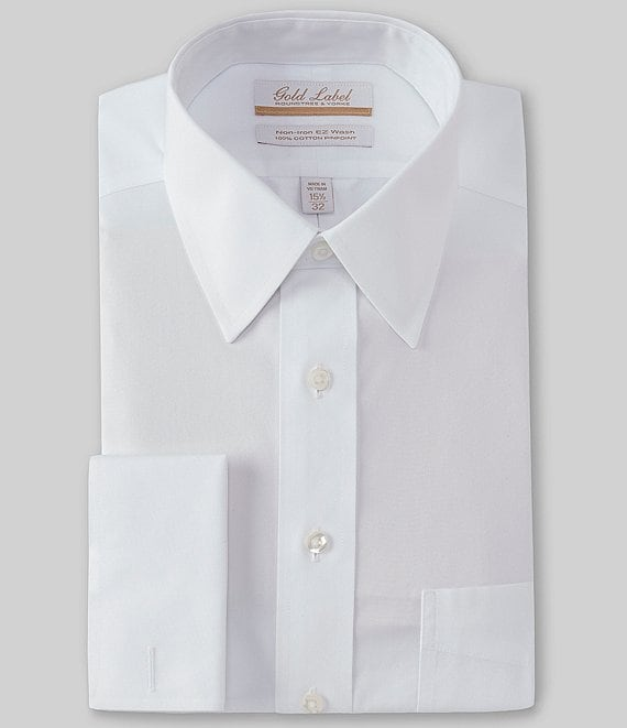 Gold Label Roundtree & Yorke Big & Tall Non-Iron Point-Collar Solid Dress Shirt with French Cuffs