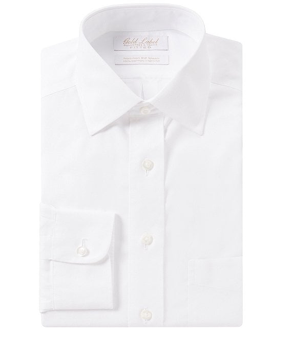 Color:White - Image 1 - Gold Label Roundtree & Yorke Non-Iron Fitted Spread-Collar Solid Dress Shirt