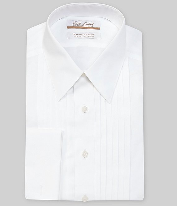 Gold Label Roundtree & Yorke Non-Iron Full-Fit Point-Collar Solid Tuxedo Dress French Cuff Shirt