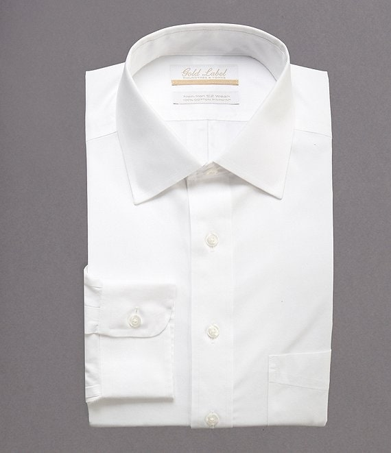 Gold Label Roundtree & Yorke Non-Iron Full-Fit Spread-Collar Solid Dress Shirt