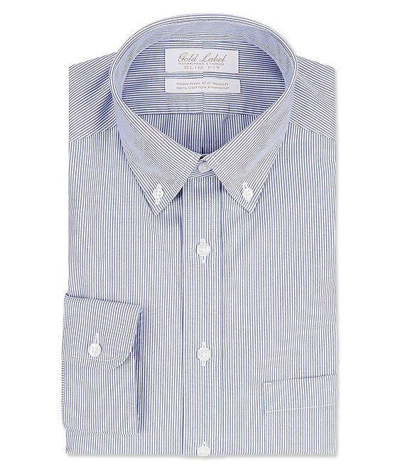 63c5cf25e4c4 Gold Label Roundtree & Yorke Non-Iron Slim Fit Button-Down Collar Striped  Dress Shirt