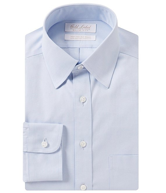 f7374e173a7c Gold Label Roundtree & Yorke Non-Iron Slim-Fit Point Collar Solid Dress  Shirt