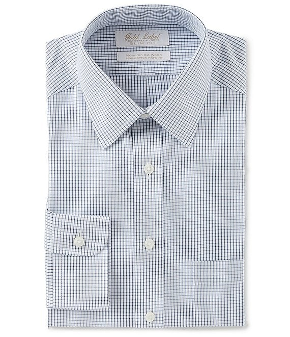Gold Label Roundtree & Yorke Non-Iron Slim Fit Point Collar Grid Patterned Dress Shirt