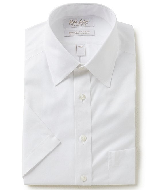 Gold Label Roundtree & Yorke Non-Iron Slim-Fit Point-Collar Short Sleeve Solid Dress Shirt