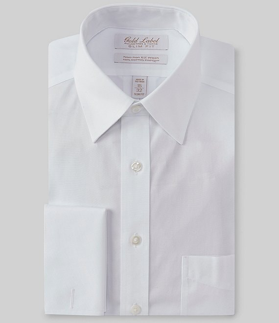 1293f44a445a Gold Label Roundtree & Yorke Non-Iron Slim Fit Point Collar Solid Dress  Shirt with French Cuffs