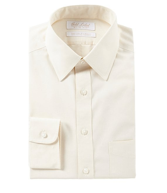 Color:Ivory - Image 1 - Gold Label Roundtree & Yorke Non-Iron Slim Fit Point Collar Solid Dress Shirt