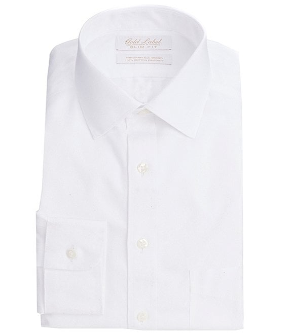 Color:White - Image 1 - Gold Label Roundtree & Yorke Non-Iron Slim-Fit Spread-Collar Solid Dress Shirt