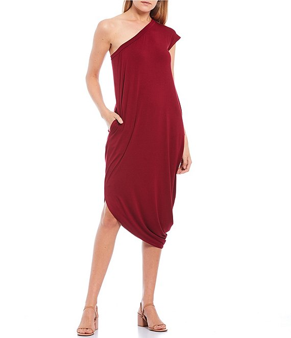 Color:Burgundy - Image 1 - One Shoulder Dress