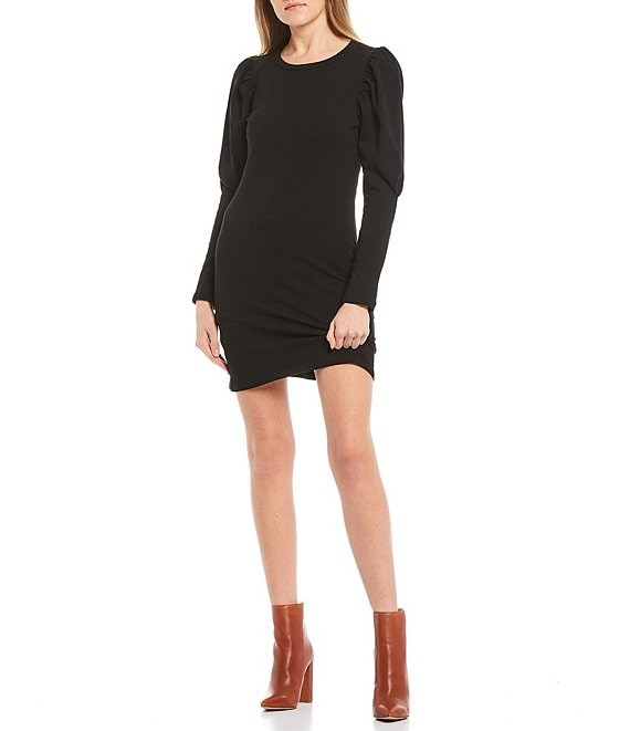 Color:Black - Image 1 - Puff Sleeve Shift Dress