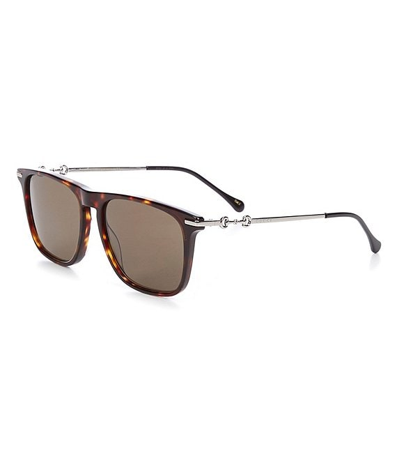 Color:Havana - Image 1 - Men's Gg0915s Square 55mm Sunglasses