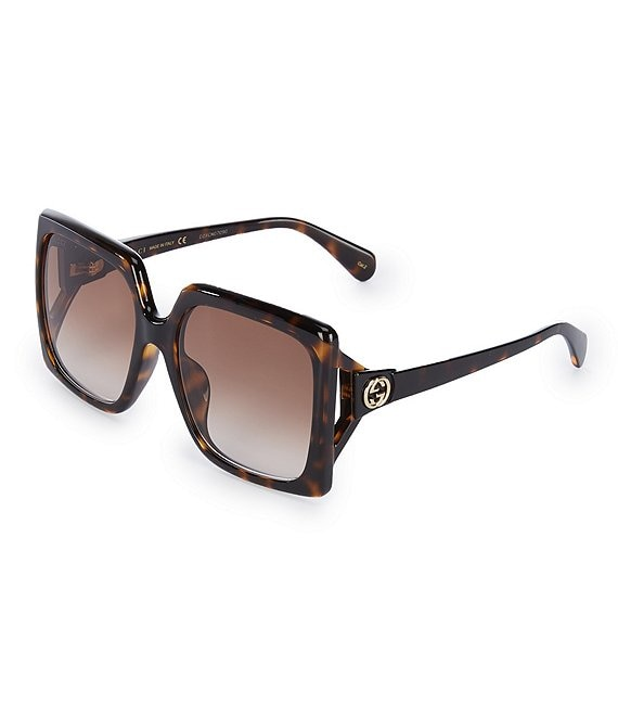 Color:Havana - Image 1 - Women's Gg0876sa Rectangular 59mm Sunglasses