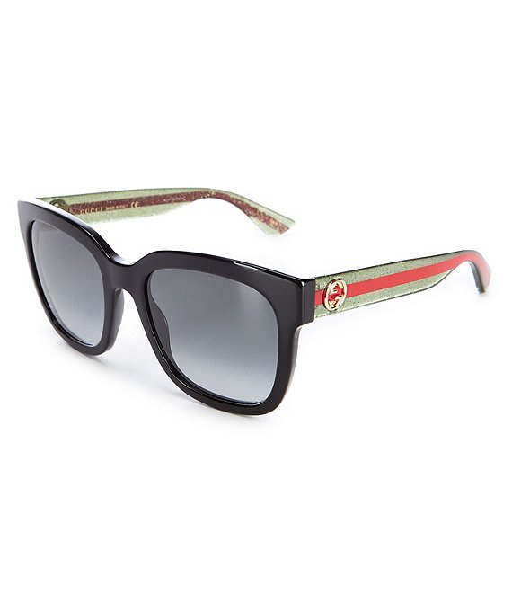 Color:Black - Image 1 - Women's Black Square 54mm Sunglasses