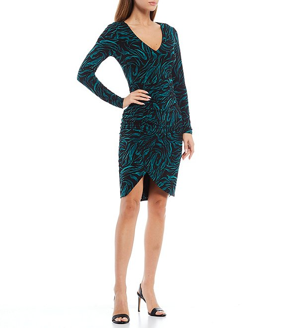 Color:Emerald/Black - Image 1 - Animal Print Jersey V-Neck Long Sleeve Ruched Bodycon Dress