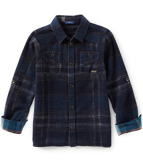Guess Big Boys 8-18 Long Sleeve Plaid Button-Up Shirt