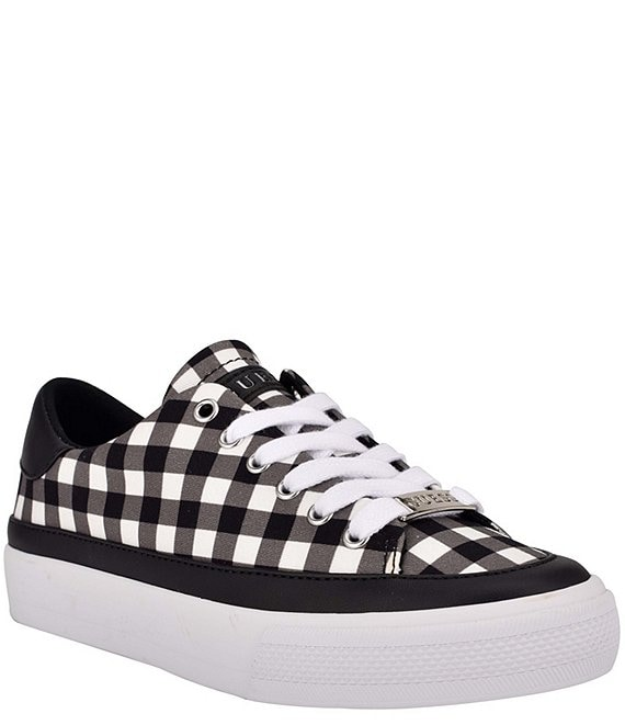 Color:Black/Multi - Image 1 - Leenie Gingham Printed Lace-Up Sneakers