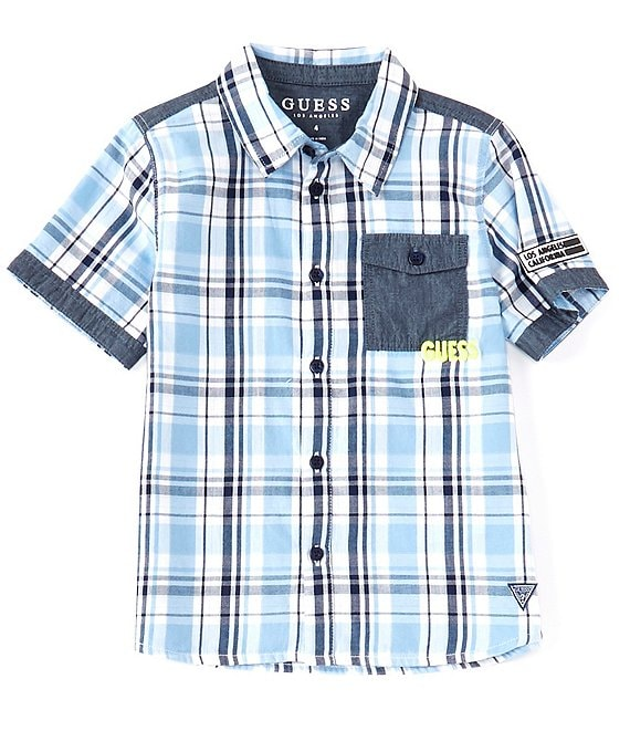 Guess Little Boys 2T-7 Short-Sleeve Plaid Woven Shirt