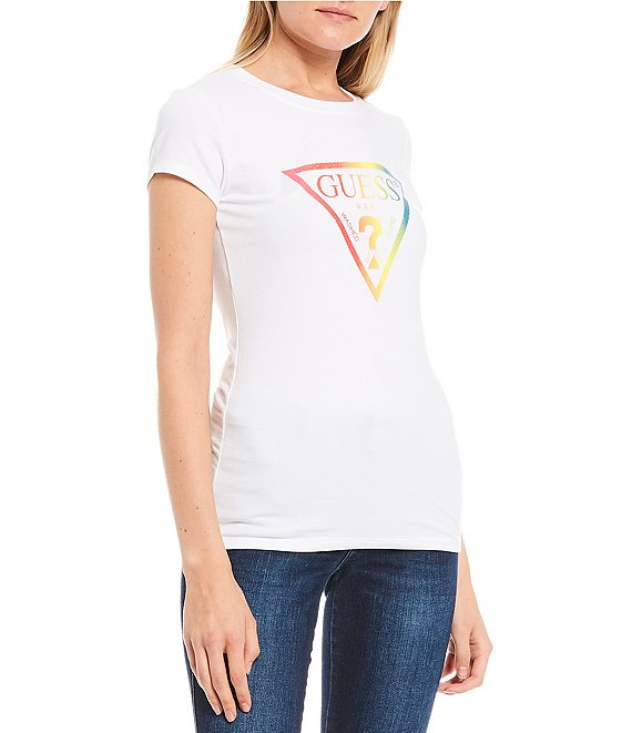 Color:White - Image 1 - Rainbow Triangle Logo Graphic Tee