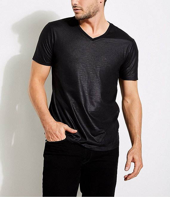 Color:Jet Black - Image 1 - Short-Sleeve Mason Yoke V-Neck T-Shirt