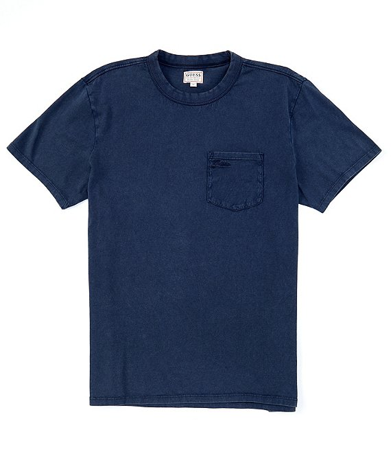 Color:Blue - Image 1 - Short-Sleeve Sueded Vintage Pocket Tee