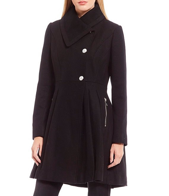 Color:Black - Image 1 - Twill Wool Double Breasted Button Coat