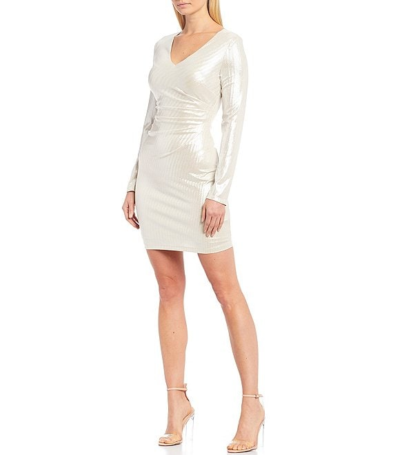 Color:Champagne - Image 1 - V-Neck Metallic Ruched Bodice Long Sleeve Sheath Dress
