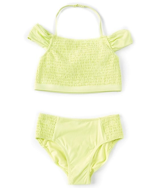 Color:Yellow - Image 1 - Big Girls 7-16 Bryana Smocked Tankini Two-Piece Swimsuit