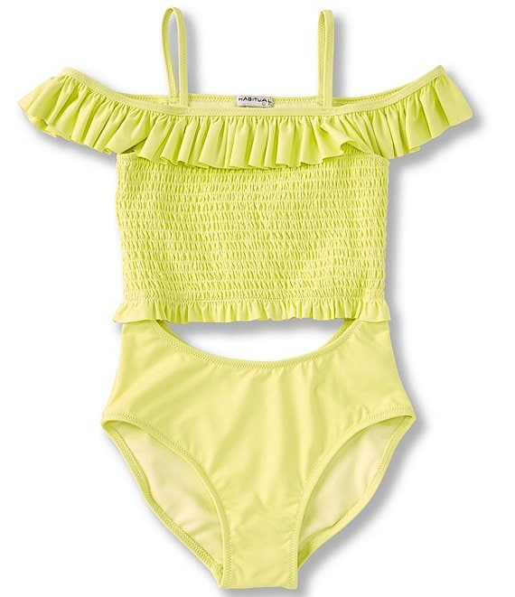 Color:Yellow - Image 1 - Big Girls 7-16 Cold-Shoulder Smocked Cutout Monokini Swimsuit
