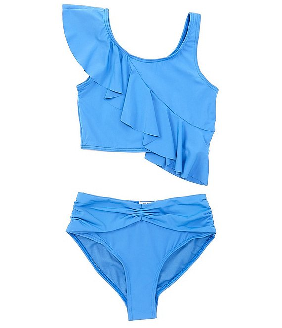 Color:Blue - Image 1 - Big Girls 7-16 Ruffled Tankini Top & Hipster Bottom Two-Piece Swimsuit