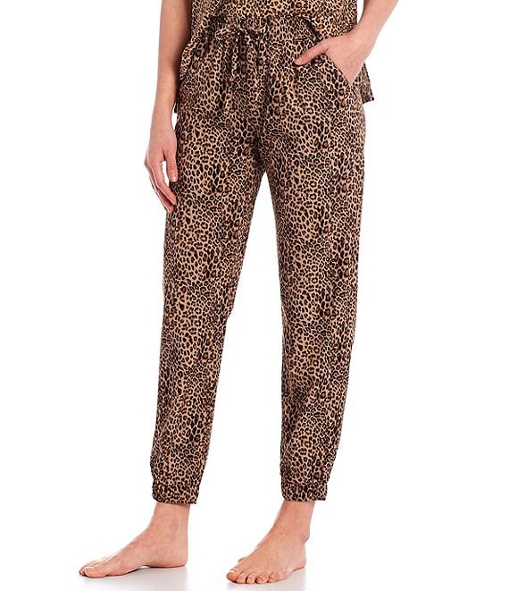 Color:Leopard - Image 1 - Half Moon by Modern Movement Leopard Print Woven Lounge Jogger Pants