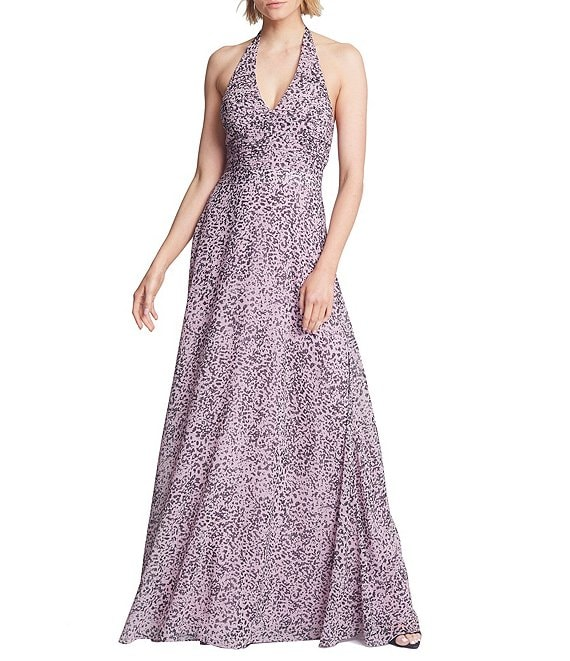 Color:Rose Marble Print - Image 1 - Ruched Waist Sleeveless Halter Gown