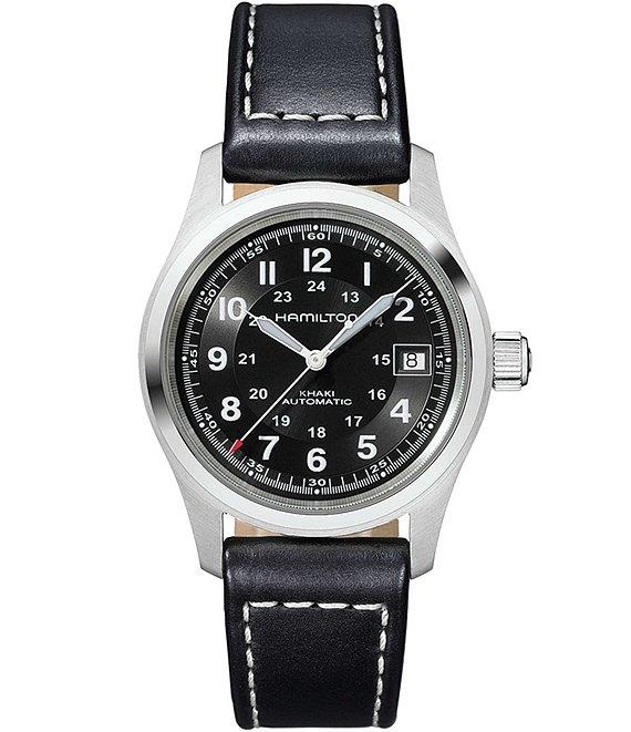 Hamilton Khaki Field Automatic Black Leather Strap Watch