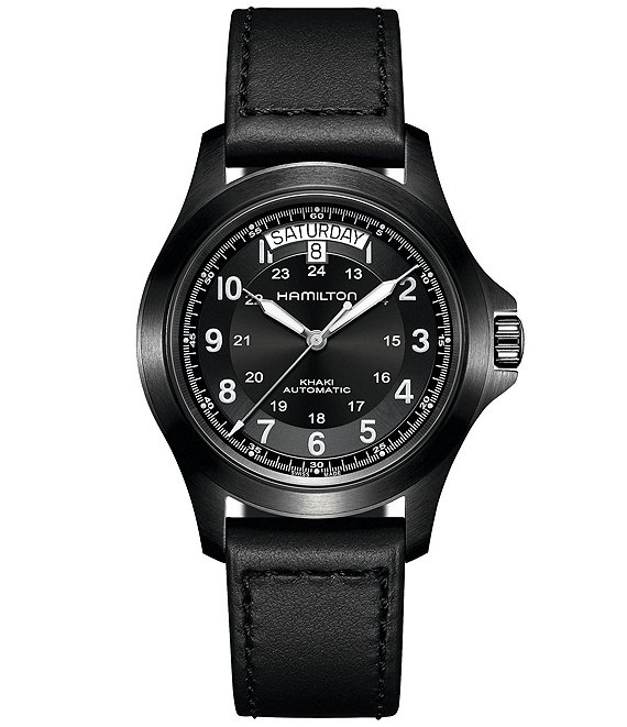 Color:Black - Image 1 - Khaki Field King Automatic Black Leather Strap Watch