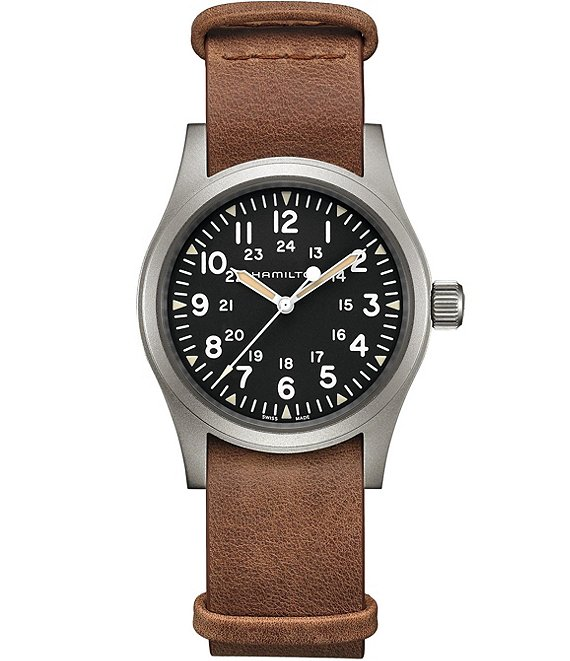 Color:Brown - Image 1 - Khaki Field Mechanical Leather Strap Watch