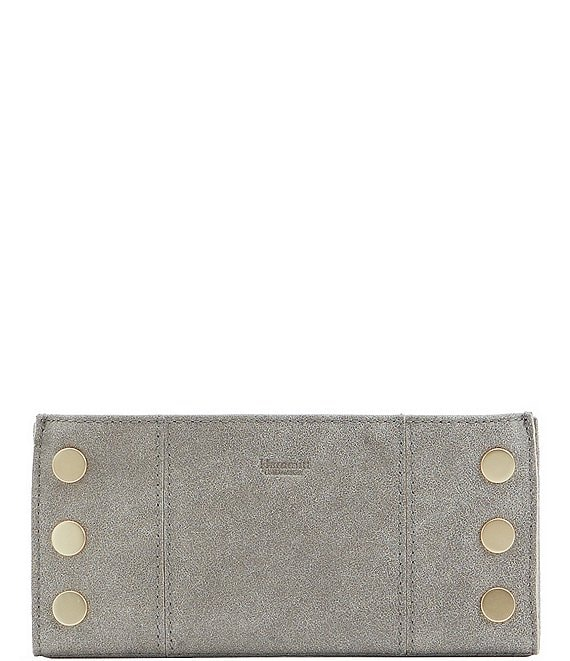 Color:Pewter/Brushed Gold - Image 1 - 110 North Suede Brushed Leather Slim Wallet